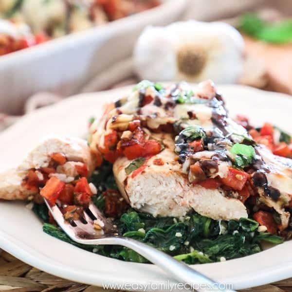Chicken Bruschetta Tender Chicken with Tomatoes, garlic and basil