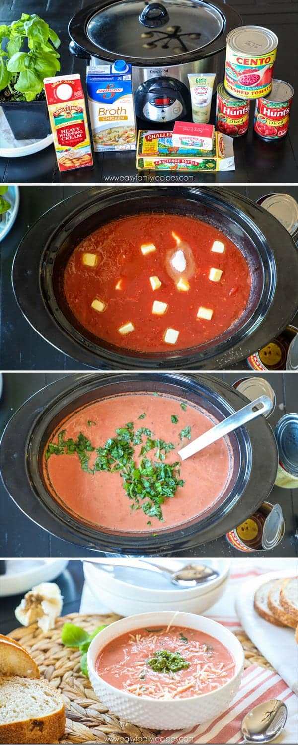 Step by Step imagery of making and cooking slow cooker tomato soup