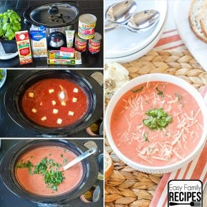 Slow Cooker Tomato Basil Soup- Easy Recipe for fall!