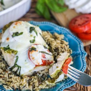 Easy Caprese Chicken with rice