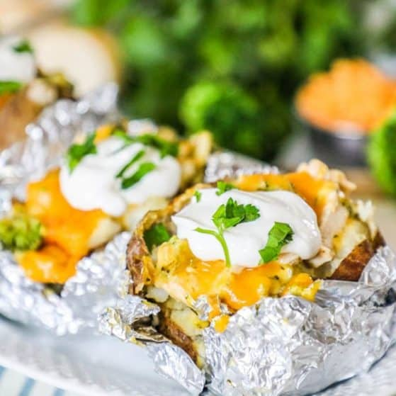 Chicken Broccoli Cheddar Baked Potato recipe