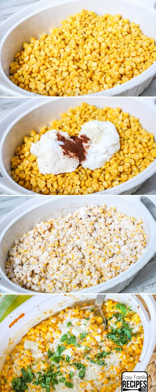 Love this easy side dish! How to make Mexican Street Corn Casserole
