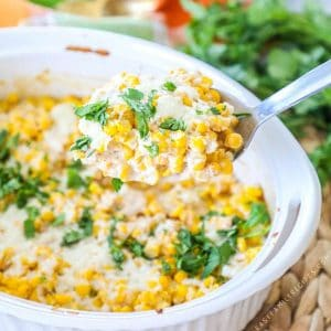 Super Easy Mexican Street Corn Casserole topped with queso fresco.