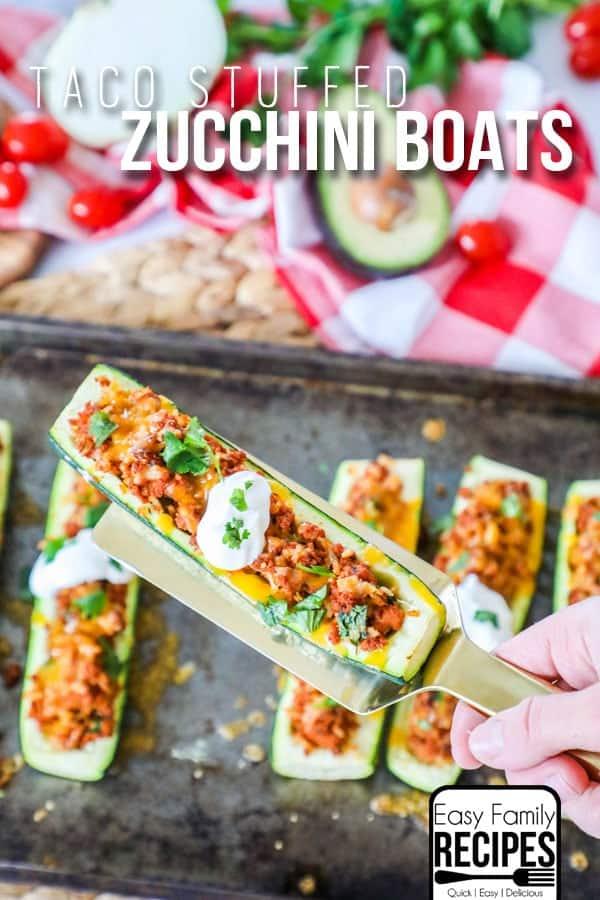 The BEST Taco Stuffed Zucchini boats