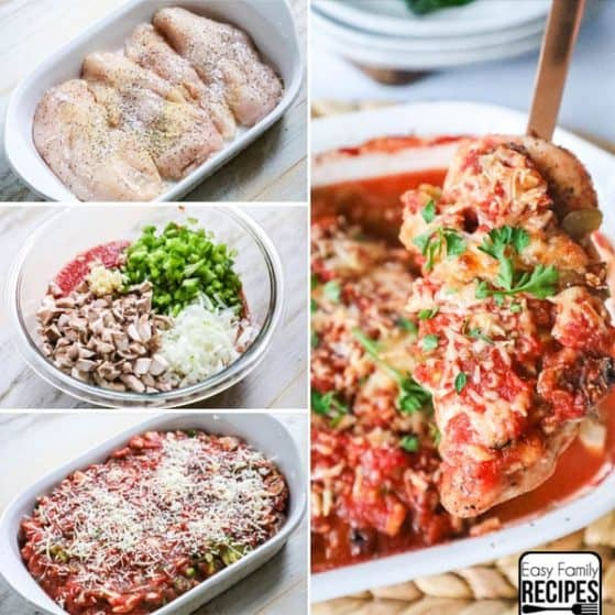 Step by Step Instructions for Baked Chicken Cacciatore- First season the chicken, then combine the vegetables and sauce, Last spread it over the chicken and sprinkle with cheese. Bake until done.