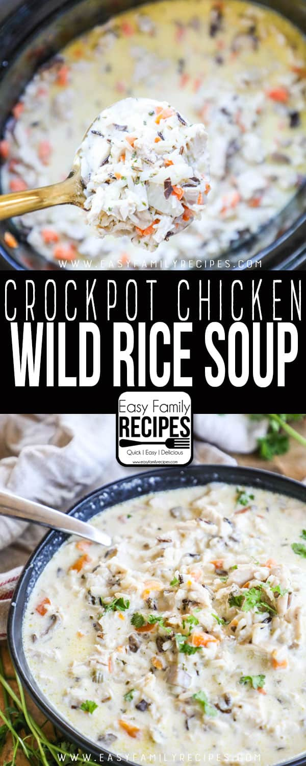 THE BEST Crock Pot Chicken WIld Rice Soup Served in a bowl