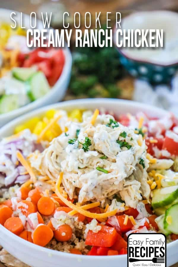Try this delicious and creamy slow cooker ranch chicken