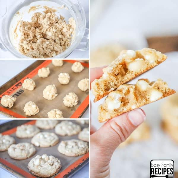 Soft White Chocolate Macadamia Nut Cookies broken in half so you can see how thick and chewy they are