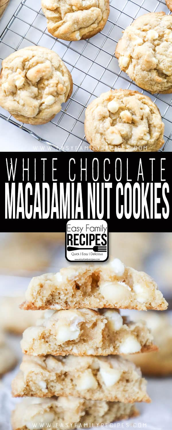 Soft & Chewy White Chocolate Macadamia Nut Cookies on a cooling rack and broken in half