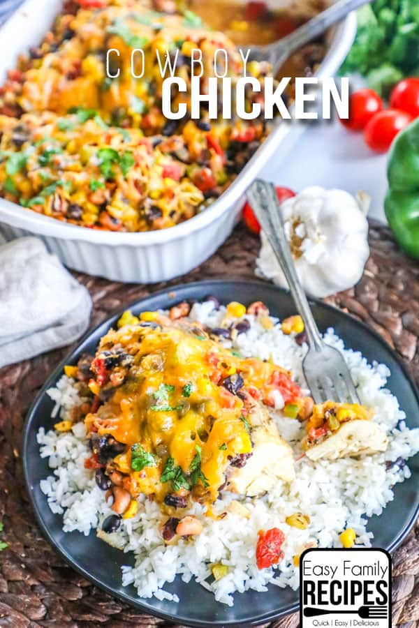 The BEST Cowboy Chicken served with Rice