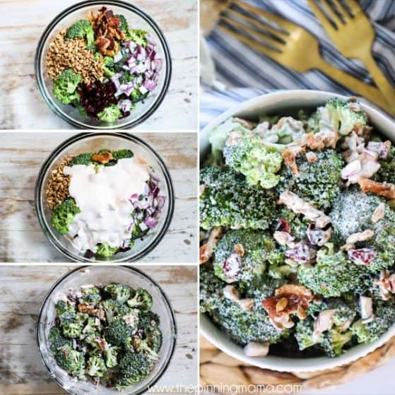 Broccoli Salad with Bacon with steps shown