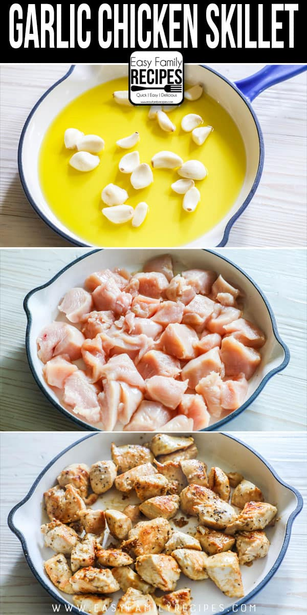 How to Make Garlic Chicken: Step 1- Sautee garlic in oil. Step 2- Saute chicken in skillet. Step 3: Combine garlic and chicken.
