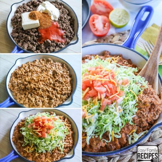 Low Carb Keto Taco Skillet with step by step instructions