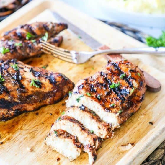 Balsamic Marinated Chicken grilled and cut into slices