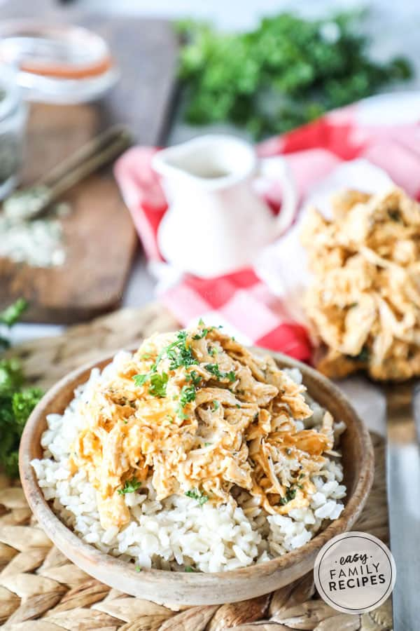 Creamy Buffalo Chicken in a bowl