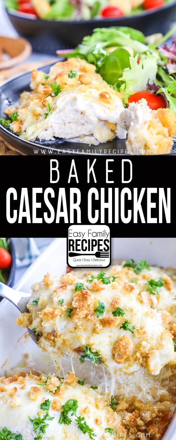 Baked Caesar Chicken Serve with Salad