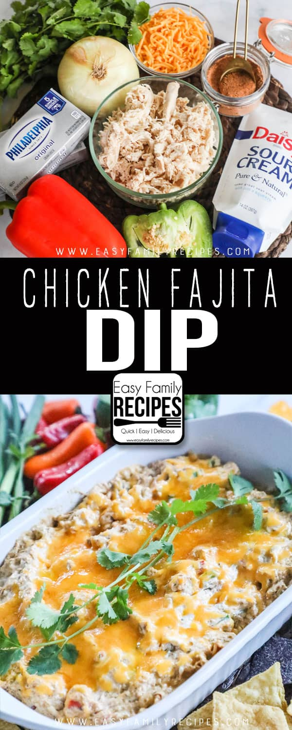 Chicken Fajita Dip ingredients shown: shredded chicken, bell pepper, onion, sour cream, cream cheese, and fajita spices