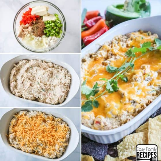 Chicken Fajita Dip Step by Step Directions with Dip in Casserole dish.