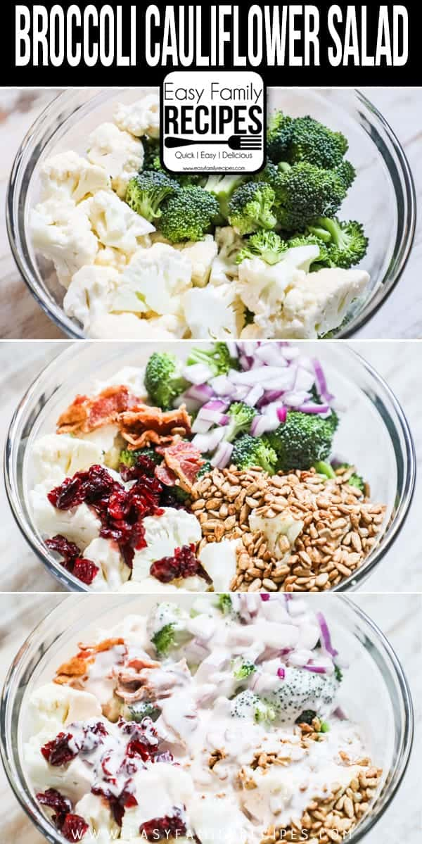 Steps to take for making Broccoli Cauliflower Salad.