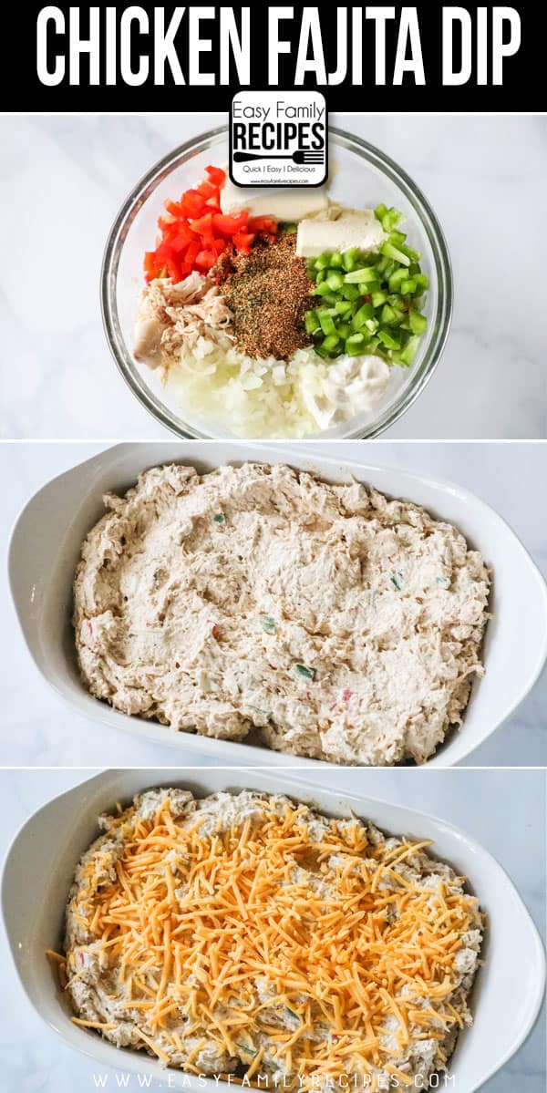 How to Make Chicken Fajita Dip. Step 1: Combine ingredients in bowl. Step 2: Mix ingredients until creamy and evenly combined. Step 3: Spread in casserole dish and cover with cheese. Step 4: Bake until bubbly.
