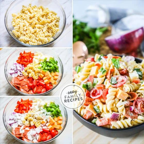 Easy Italian Style Rotini Pasta Salad with steps shown