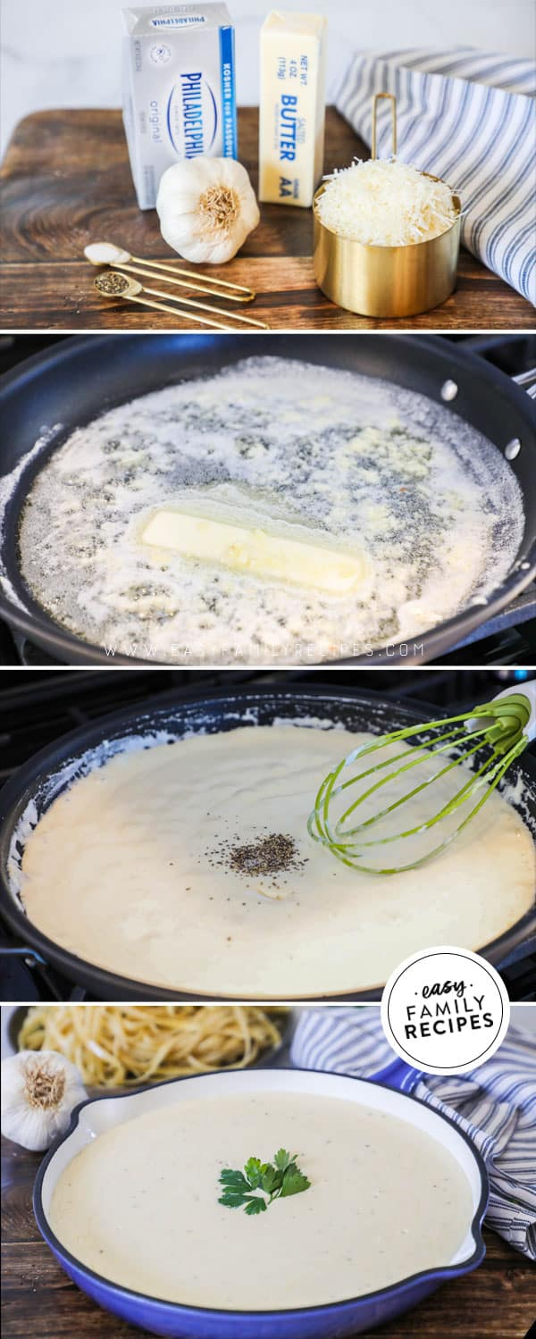 Steps for making alfredo sauce with cream cheese from scratch