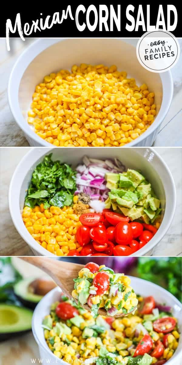Steps to making Mexican Corn Salad.