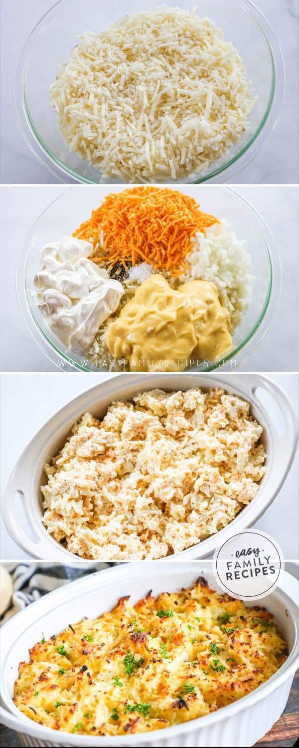 3 steps to make the BEST Cheesy hashbrown casserole