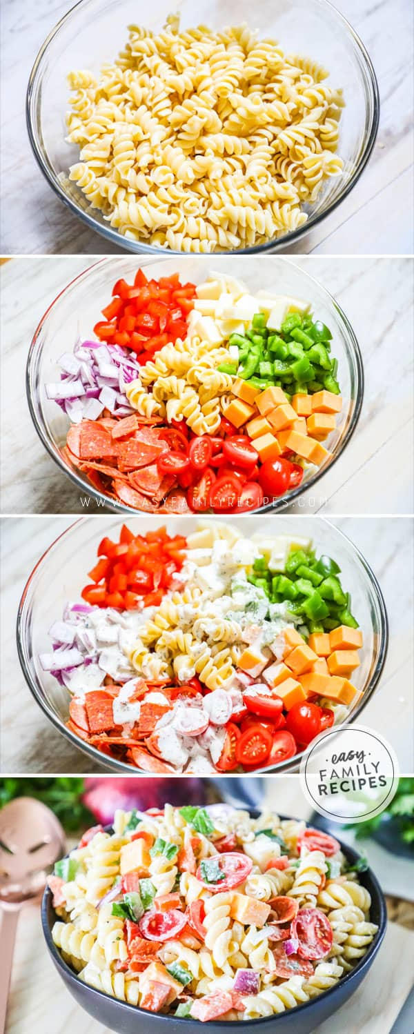 Steps for how to make rotini pasta salad