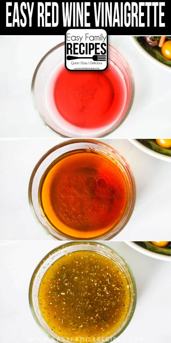Steps to making Red Wine Vinaigrette.