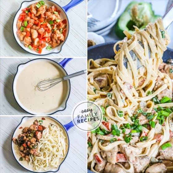 How to Make Cajun Chicken Pasta in a collage photo