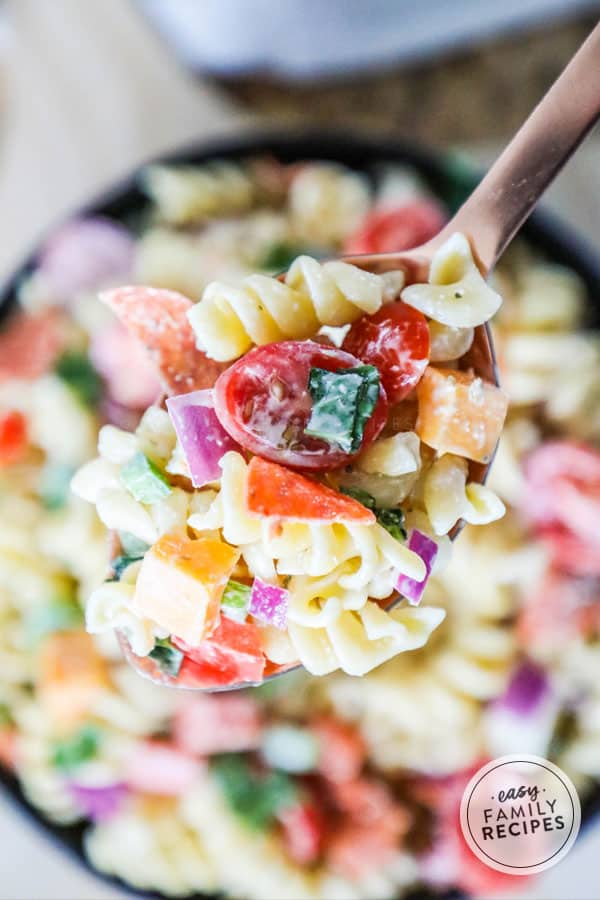 Easy Rotini Pasta Salad on a spoon