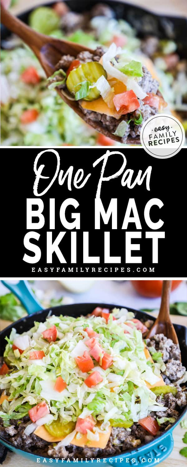 Spoon scooping our a delicious serving of this Big Mac Skillet for a low carb dinner idea.