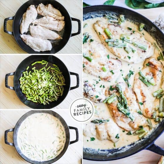 Chicken with Asparagus in a creamy sauce cooked in a cast iron skillet