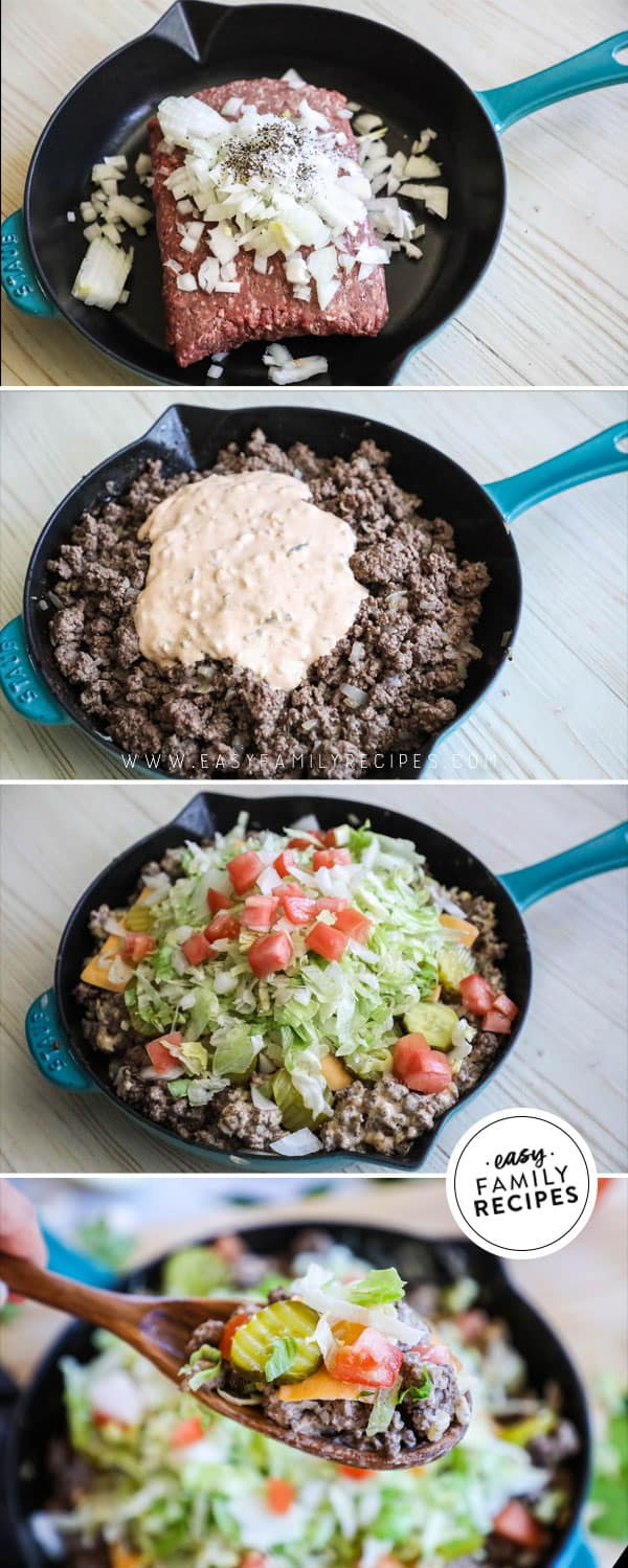 Steps to Make Big Mac Skillet for easy low carb dinner