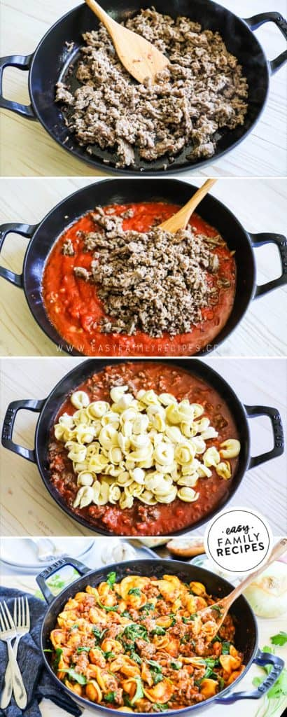 Steps to Make ONE SKILLET Italian Sausage Tortellini