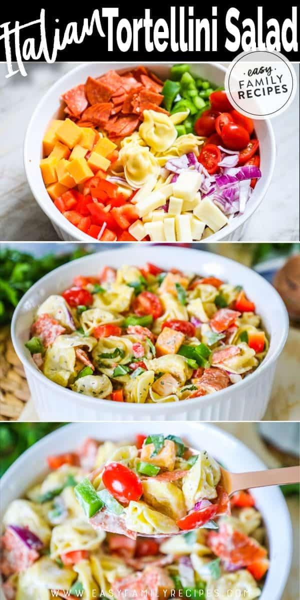 Steps to making tortellini salad.
