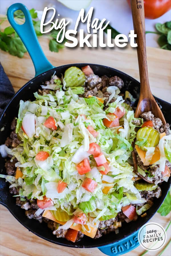Big Mac Skillet on a table ready for a quick and easy dinner