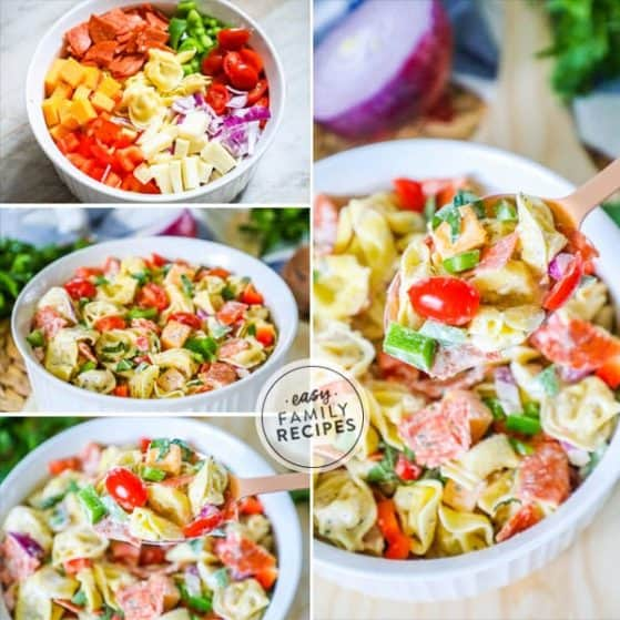 Tortellini salad with Italian dressing is delicious and full of flavors.