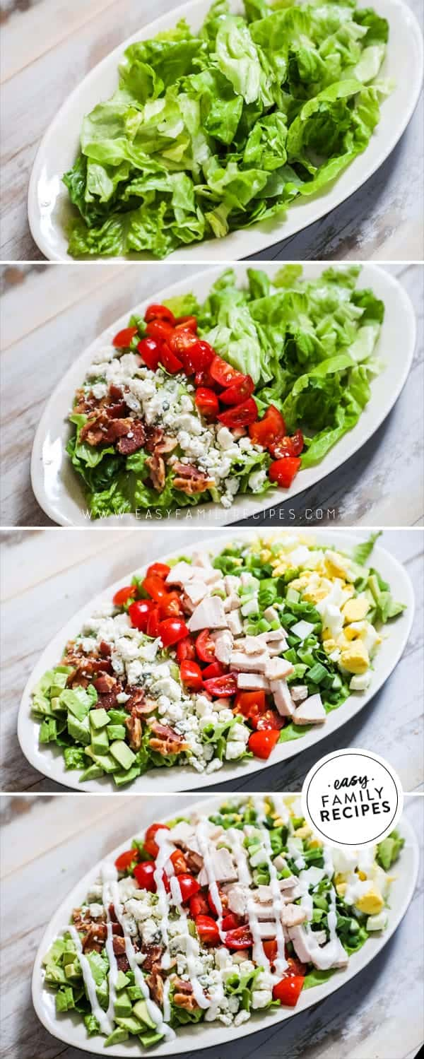 Steps to making Chicken Cobb Salad.