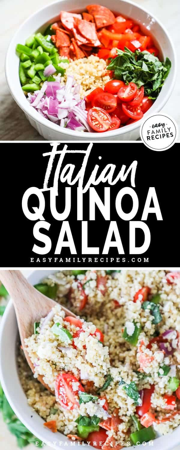 Quick, Easy and delicious Italian Quinoa Salad.