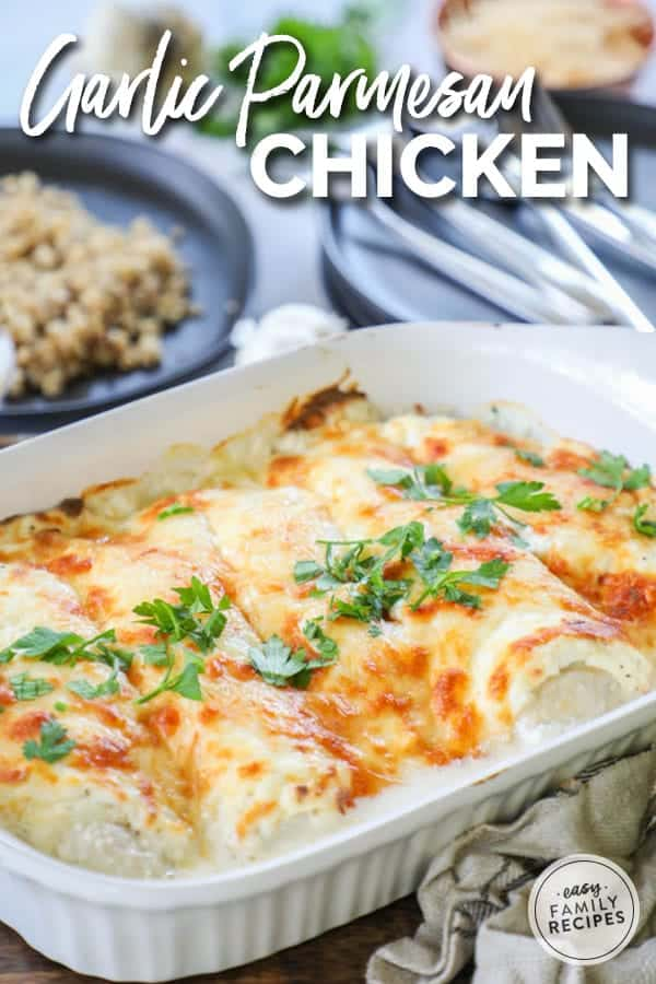 Garlic Parmesan Chicken is a quick and easy one dish chicken bake.