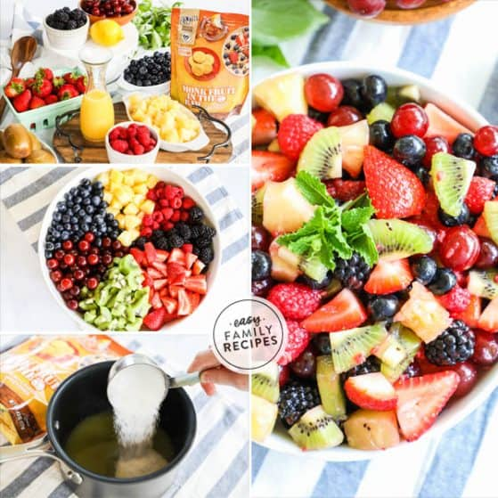Easy Fruit Salad with lightly Sweetened dressing