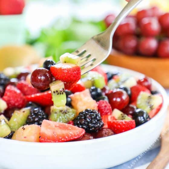 Easy Summer Fruit Salad with Dressing served in a bowl