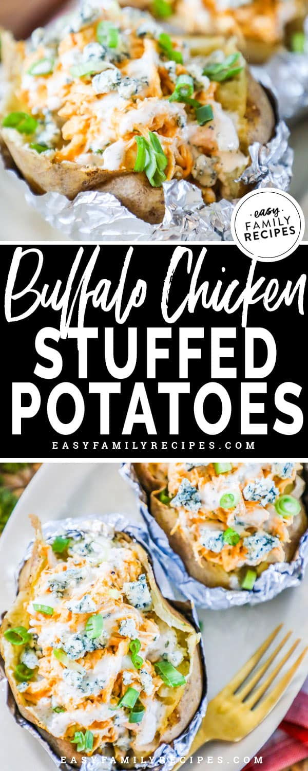 Baked Potato filled with Buffalo Chicken, Blue Cheese and scallions