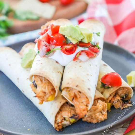 Recipe for BBQ Chicken Flautas.