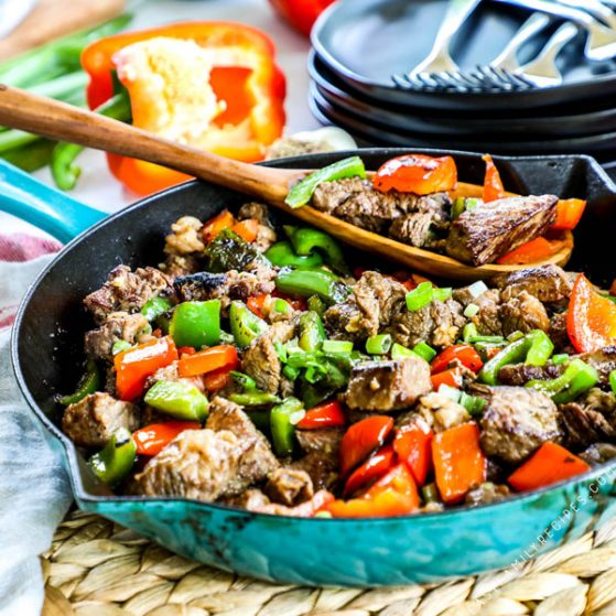 Cajun Butter Steak Bites in a skillet