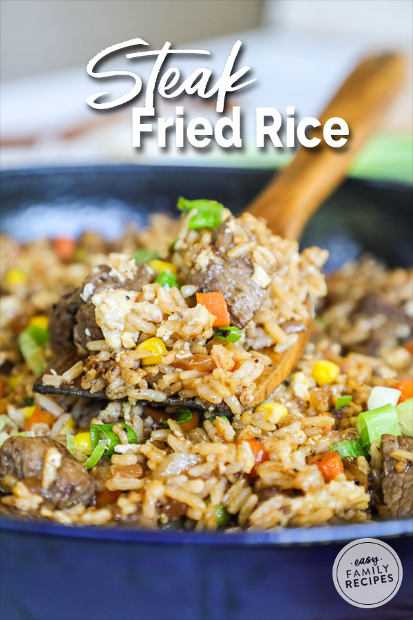 Steak Fried Rice being scooped up on a spatula