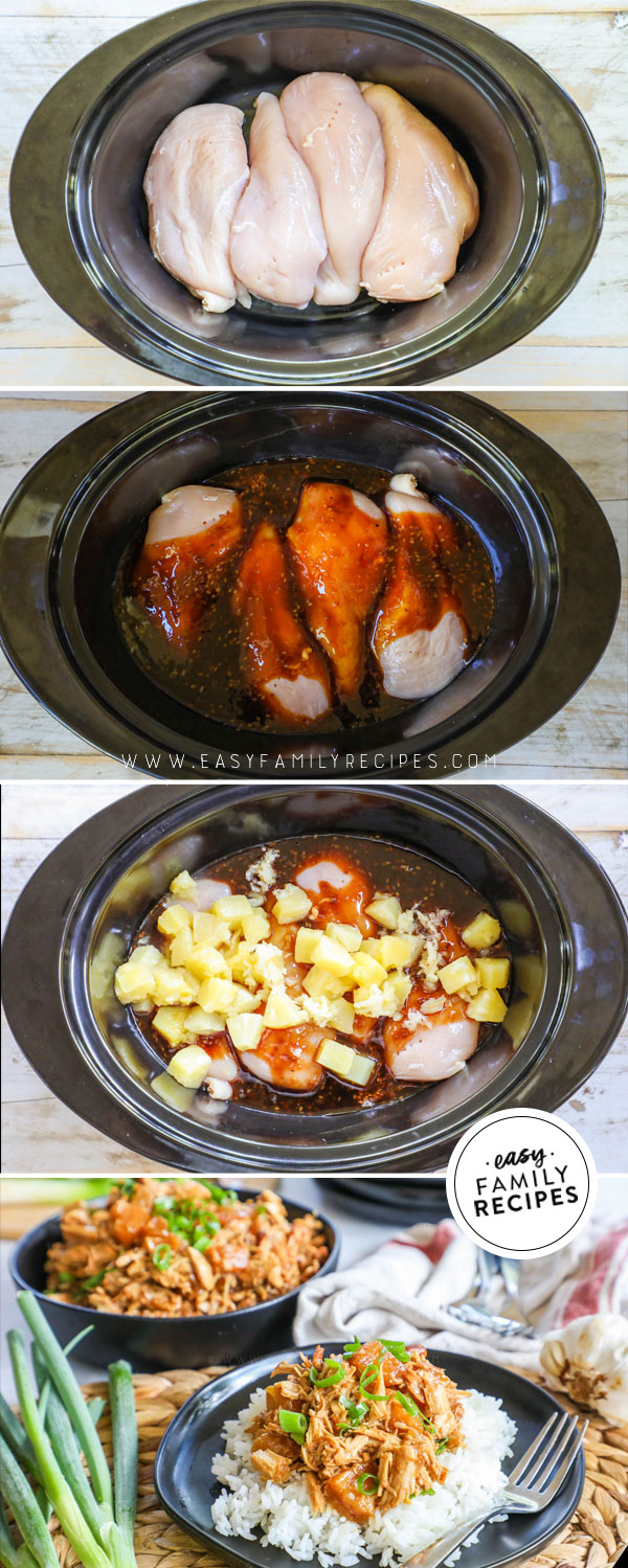 Process photos of How to Make Crockpot Pineapple Chicken