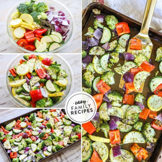 Red bell pepper, squash, zucchini, broccoli, and red onion tossed in a bowl with herbs to make oven roasted vegetables